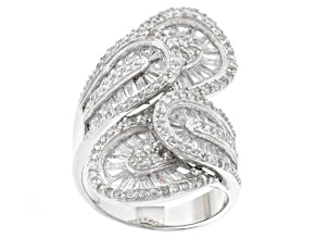 Pre-Owned White Cubic Zirconia Rhodium Over Sterling Silver Ring 5.96ctw