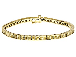 Pre-Owned Yellow Diamond 14k Yellow Gold Over Sterling Silver Bracelet 1.00ctw