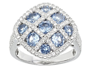 Pre-Owned Blue And White Cubic Zirconia Rhodium Over Silver Ring 3.83ctw