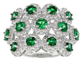 Pre-Owned Green And White Cubic Zirconia Rhodium Over Silver Ring 3.07ctw