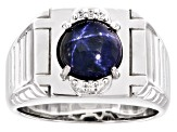 Pre-Owned Blue star sapphire rhodium over silver gent's ring 4.29ctw