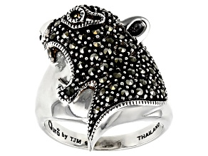 Pre-Owned Gray marcasite silver panther ring .01ct