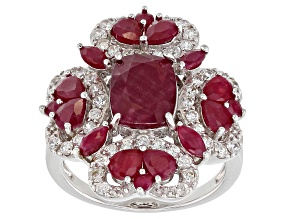 Pre-Owned Red Indian ruby rhodium over sterling silver ring 5.09ctw