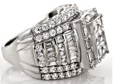 Pre-Owned Cubic Zirconia Rhodium Over Sterling Silver Ring 6.74ctw (4.60ctw DEW)