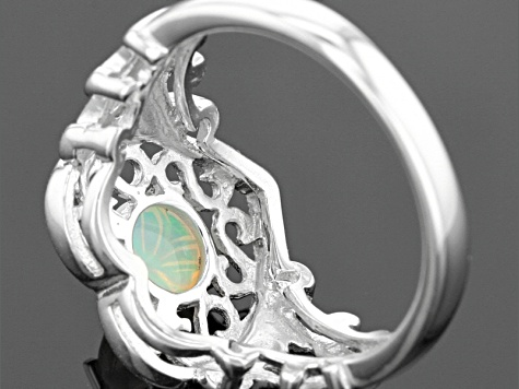 Pre-Owned Ethiopian Floral Carved Opal Sterling Silver Ring .56ctw