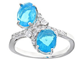 Pre-Owned Blue Ethiopian Opal Sterling Silver Ring 2.03ctw