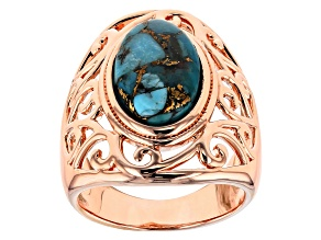 Pre-Owned Turquoise Blue Copper Ring