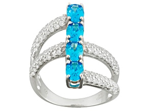 Pre-Owned Blue And White Cubic Zirconia Rhodium Over Silver Ring 4.12ctw