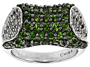 Pre-Owned Green Chrome Diopside And White Topaz Sterling Silver Ring 2.96ctw