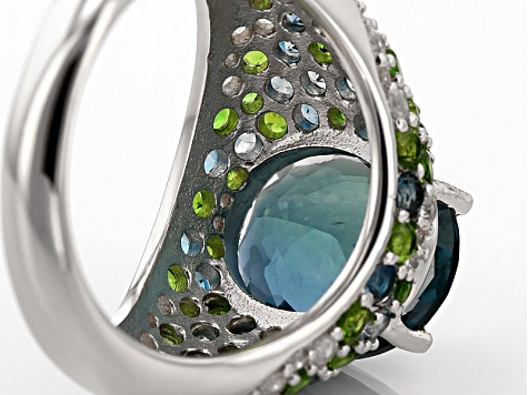 Pre-Owned Teal Fluorite, Blue Topaz, Chrome Diopside And White Zircon Sterling Silver Ring 7.78ctw
