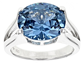 Pre-Owned Lab Created Blue Spinel Silver Ring 5.58ct