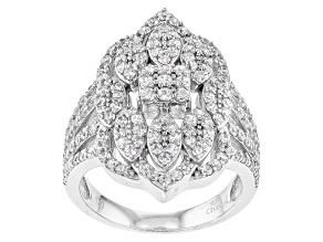 Pre-Owned White Cubic Zirconia Rhodium Over Sterling Silver Ring 3.25ctw