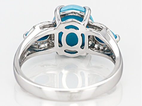 Pre-Owned Blue turquoise rhodium over silver ring .08ctw