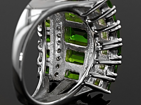 Pre-Owned Green Russian Chrome Diopside Sterling Silver Ring 5.23ctw