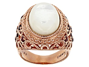 Pre-Owned Copper White Mother-Of-Pearl Ring .51ctw