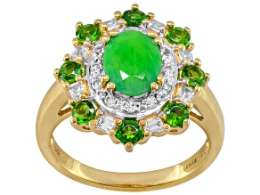 Pre-Owned Green Ethiopian Opal, Chrome Diopside And White Topaz 18k Gold Over Silver Ring 1.60ctw