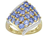 Pre-Owned Blue Tanzanite 14k Yellow Gold Over Sterling Silver Ring 2.00ctw