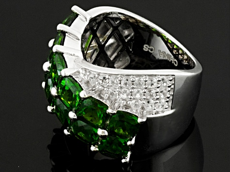 Pre-Owned Green Russian Chrome Diopside And White Zircon Sterling Silver Ring 3.59ctw