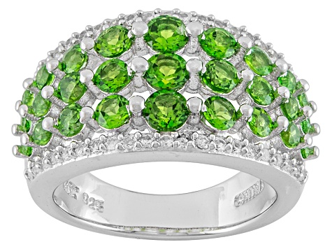 Pre-Owned Green Chrome Diopside And White Zircon Sterling Silver Ring 1.73ctw