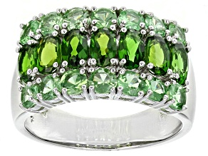 Pre-Owned Green Russian Chrome Diopside And Tsavorite Garnet Sterling Silver Ring 3.27ctw