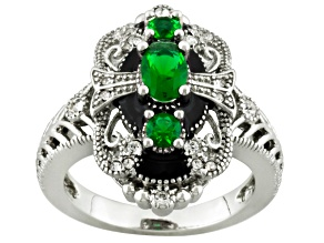 Pre-Owned Green Glass White Crystal Silver Tone Ring
