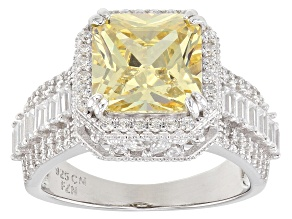 Pre-Owned Yellow & White Cubic Zirconia Rhodium Over Sterling Silver Center Design Ring 7.08ctw