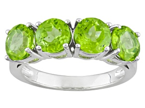 Pre-Owned Green Peridot Sterling Silver Ring 3.84ctw
