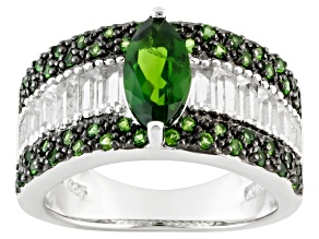 Pre-Owned Green Chrome Diopside And White Topaz Sterling Silver Ring 2.70ctw