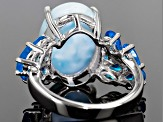 Pre-Owned Blue Larimar Sterling Silver Ring .30ctw.
