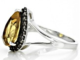 Pre-Owned Brown Champagne Quartz Sterling Silver Ring 2.66ctw