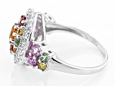 Pre-Owned Multi-Sapphire Sterling Silver Ring 1.15ctw