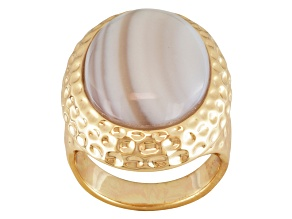 Pre-Owned Multicolor Banded Chalcedony Gold Tone Copper Ring