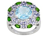 Pre-Owned Sky Blue Topaz Sterling Silver Ring 5.99ctw