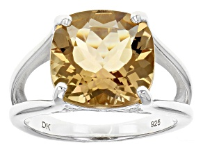Pre-Owned Brown Champagne Quartz Sterling Silver Solitaire Ring 5.13ct
