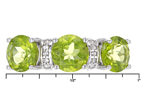 Pre-Owned Green Peridot Sterling Silver Ring 4.31ctw