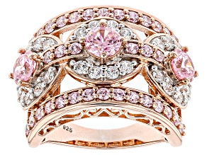 Pre-Owned Pink And White Cubic Zirconia 18k Rose Gold Over Silver Ring 6.16ctw (3.12ctw DEW)