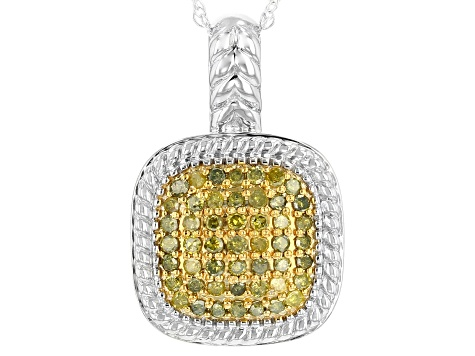 Pre-Owned Yellow Diamond Rhodium over Sterling Silver Pendant .40ctw