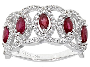 Pre-Owned Red ruby sterling silver ring 2.75ctw