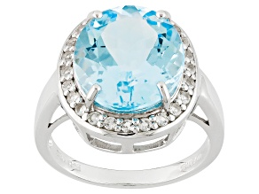 Pre-Owned Sky Blue Topaz Sterling Silver Ring 8.89ctw