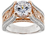 Pre-Owned White Cubic Zirconia 18k Rose Gold & Rhodium Over Sterling Silver Center Design Ring