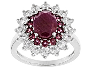 Pre-Owned Red Ruby Rhodium Over Silver Ring 4.66ctw
