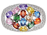 Pre-Owned Multicolor & White Cubic Zirconia Rhodium Over Sterling Silver Cluster Ring 6.92ctw