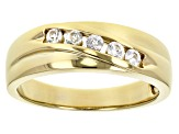 Pre-Owned White sapphire, 18k yellow gold over sterling silver gent's band ring. .32ctw