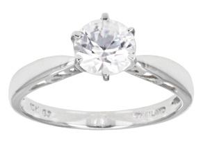 Pre-Owned White Zircon 10k White Gold Ring 1.56ct.