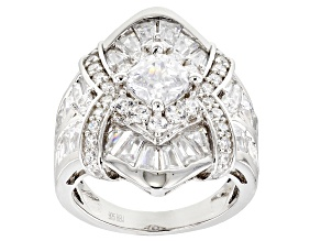 Pre-Owned White Cubic Zirconia Rhodium Over Sterling Silver Ring 7.76CTW