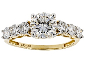Pre-Owned Moissanite 14k Yellow Gold Ring 1.98ctw D.E.W