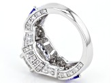 Pre-Owned Moissanite Fire® 2.42ctw DEW And .60ctw Tanzanite Platineve™ Ring