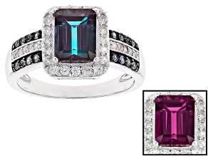 Pre-Owned Color change lab created alexandrite sterling silver ring 2.28ctw