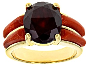 Pre-Owned Red hessonite garnet 18k yellow gold over silver ring 4.59ct