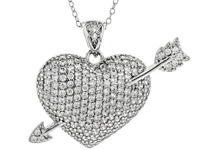 Pre-Owned White Cubic Zirconia Rhodium Over Sterling Silver Heart Pendant With Chain 1.50ctw